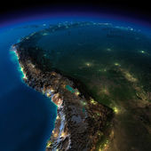 Night Earth. A piece of South America - Bolivia, Peru — Stock Photo