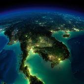 Tierra de noche. un trozo de asia - península indochina — Foto de Stock