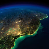 Night Earth. A piece of South America - Brazil — Stock Photo