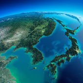 Detailed Earth. Korea and Japan — Stock Photo