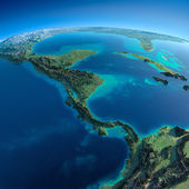 Detailed Earth.The countries of Central America — Stock Photo