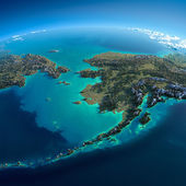 Detailed Earth. Chukotka, Alaska and the Bering Strait — Stock Photo