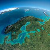 Detailed Earth. Europe. Scandinavia — Stok fotoğraf