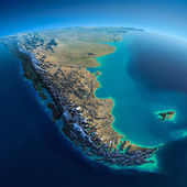 Detailed Earth. South America. Tierra del Fuego — Stock Photo