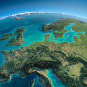 Detailed Earth. Central Europe — Stock Photo