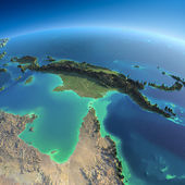 Detailed Earth. Australia and Papua New Guinea — Stock Photo