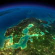 Stock Photo: Night Earth. Europe. Scandinavia