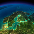 Постер, плакат: Night Earth Europe Scandinavia