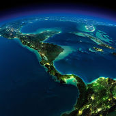 Night Earth. The countries of Central America — Stock Photo
