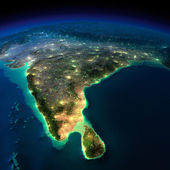 Night Earth. India and Sri Lanka — Stock Photo