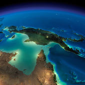 Night Earth. Australia and Papua New Guinea — Stock Photo