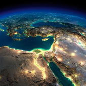 Night Earth. Africa and Middle East — Stock Photo