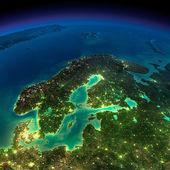 Night Earth. Europe. Scandinavia — Stock Photo