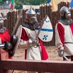 tres caballeros medievales — Foto de Stock