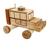 Handmade wooden toy car — Stock Photo