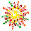 Candies grouped in round shape — Stock Photo