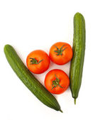 Cucumbers and tomatoes — Stock Photo