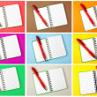Opened notebook and red pen — Stock Photo #24929451