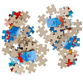 Paper jigsaw puzle isolated — Stock Photo