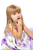 Little beautiful girl putting the fingers in he mouth — Stock Photo
