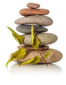 Stack of zen stones with dried leaves — Stock Photo