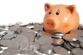 Piggy bank on pile of coins — Foto Stock