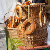 Bagels in a wicked basket — Stock Photo