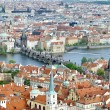 City of Prague with Charles bridge from above - Stock Photo