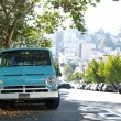 Cyan colored old truck on the street — Stock Photo