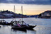 Wine boats on river Douro, Porto, Portugal — Stock Photo