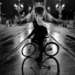 Cyclist in front of Liberty Bridge of Budapest at night — Stock Photo