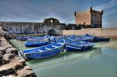 Blue fishing boats of Essaouira — Stock Photo