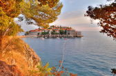 Old town of Sveti Stefan in Montenegro — Stock Photo