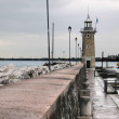 Pier at Desenzano on Lake Garda on a stormy day — Stock Photo