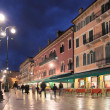 Piazza Bra in Verona at night — Stock Photo