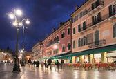 Piazza Bra in Verona at night — Stock Photo