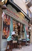 Verona, İtalyan eti spesiyaliteleri ile tarihsel salumeria — Stok fotoğraf