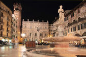 Piazza delle Erbe in Verona at night — Stock Photo