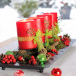 Red Advent Candles — Stockfoto