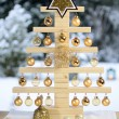 Home-made wooden Christmas tree — Stock Photo