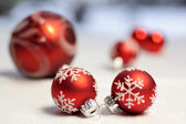 Small red Christmas balls — Stock Photo