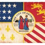 Grunge flag of Detroit (USA) — Stock Photo
