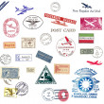 timbri ed etichette di posta aerea d'epoca — Foto Stock