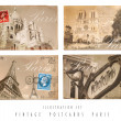 Stock Photo: Vintage Postcards Set Paris
