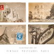Vintage Postcards Set Paris — Stock Photo