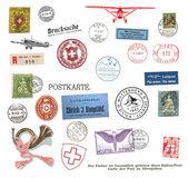 почтовые марки и этикетки из швейцарии — Стоковое фото