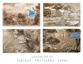 Vintage Postcards Set Capri — Stock Photo