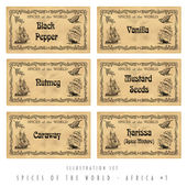 Illustration set spice labels, Africa 1 — Stock Photo