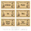 Illustration set spice labels, America — Stock Photo