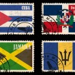 Set of stamps with flags from the Caribbean — Stock Photo #19640885